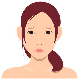 若い日本人女性モデル 上半身イラスト(美容・フェイスケア) / 悲しい顔・困っている顔