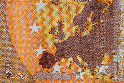 Selective focus on detail of euro banknotes. Close up macro detail of money banknotes, 50 euro isolated. World money concept, inflation and economy concept