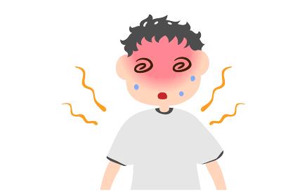 熱中症でめまいを起こす男の子のイラスト