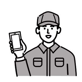 作業服 男性 若い スマホ スマートフォン 携帯電話 携帯 ポップ 手描き