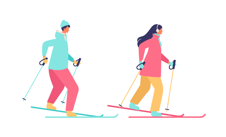 スキーをする冬の女性イラスト