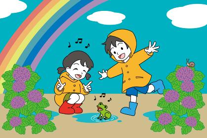 梅雨、レインコートを着た男の子と女の子