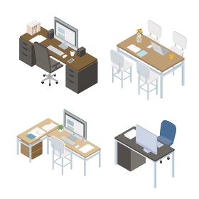 オフィス デスク デザイン アイソメトリック イラスト