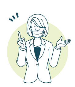 マスクをして説明をするスーツを着た女性のイラスト