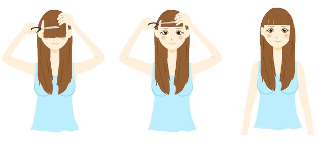 前髪セルフカット 女性