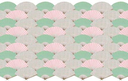 扇子の青海波模様 ピンク×グリーンの和柄背景