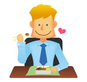 外人・西洋人 若い男性サラリーマン・ビジネスマン 上半身イラスト (ランチ・お弁当・愛妻弁当・昼食)