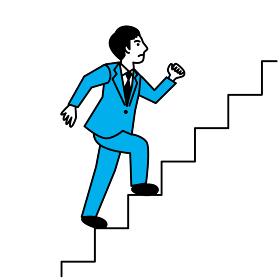 階段を上る男性 真横