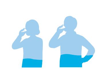 水を飲む男女のシルエット 水分補給 中高年 ミドル イラスト素材