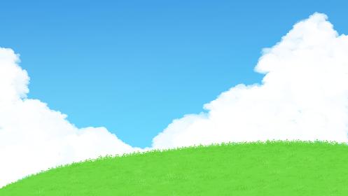青空と白い雲と緑の草原のイラスト