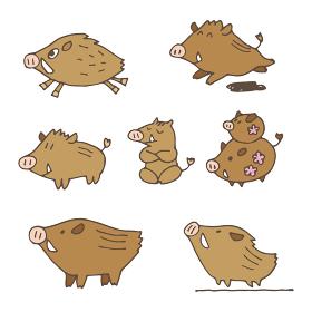 手書き 猪のイラスト 年賀状素材 干支動物