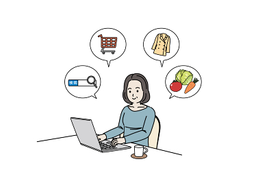 ノートパソコンを使う中高年の女性 検索 買い物 ネットサーフィン ミドル イラスト素材
