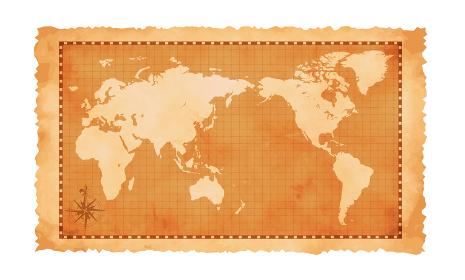 色褪せたボロボロの古地図ベクターイラスト / 世界地図