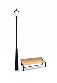 街灯とベンチの3Dレンダリング
