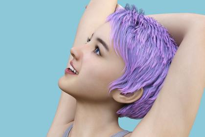 パープルとピンクが混ざったヘアカラーのショートヘアの女性が両手を上にあげて組み空を見上げている