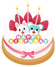 熊とウサギと苺と生クリームのお誕生日ケーキ