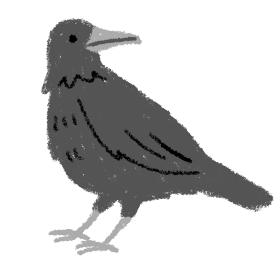 カラス 鳥 動物 イラスト 素材 クレパス