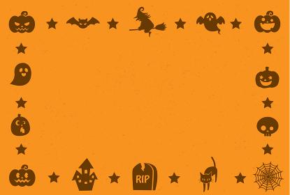 かわいいハロウィンのフレームメッセージカード