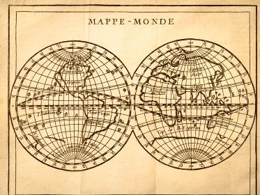 アンティークの古地図 世界地図