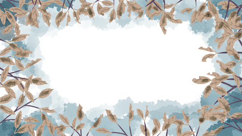 枝葉 枯れ葉 背景色付き 水彩風 フレーム