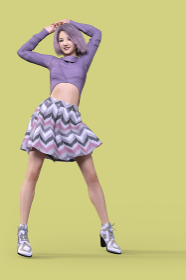 紫色のボブヘアの笑顔の女の子がデザイントップスとストライプ柄のフレアスカートを着てバンザイをしている