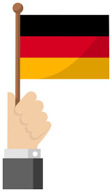 手持ち国旗イラスト ( 愛国心・イベント・お祝い・デモ ) / ドイツ