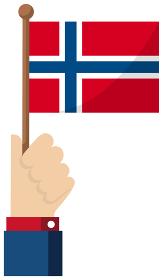 手持ち国旗イラスト ( 愛国心・イベント・お祝い・デモ ) / ノルウェー