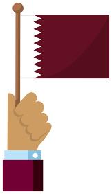 手持ち国旗イラスト ( 愛国心・イベント・お祝い・デモ ) / カタール