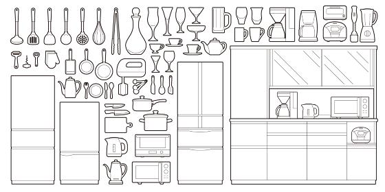 キッチン用品線画アイコンセット