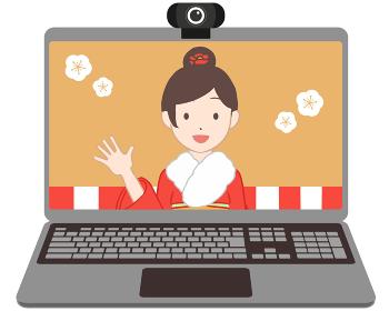オンライン成人式 ノートパソコン 女性(線無