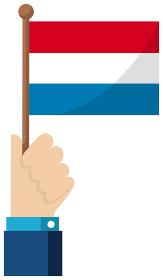 手持ち国旗イラスト ( 愛国心・イベント・お祝い・デモ ) / オランダ