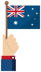 手持ち国旗イラスト ( 愛国心・イベント・お祝い・デモ ) / オーストラリア
