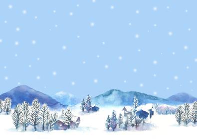 水彩で描いた雪景色のイラスト