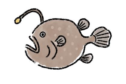 あんこう 鮟鱇 魚 手描き 筆