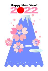 2022年の年賀状ハガキ,富士山と桜と波