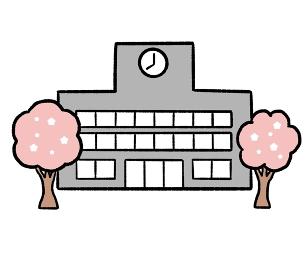 桜が咲く校舎のイラスト