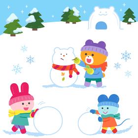 雪あそびをするクマ・ウサギ・ネズミ/セット