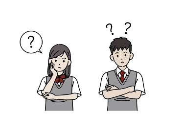 考える学生 疑問 ? 中高生 高校生 中学生 男女 イラスト素材