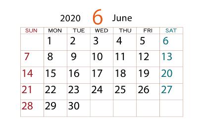 2020年 カレンダー 6月