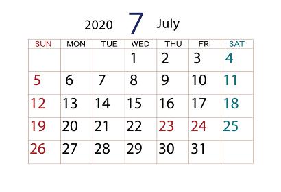 2020年 カレンダー 7月