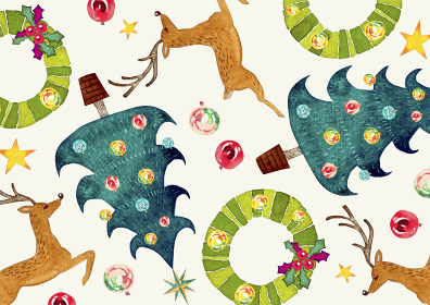 クリスマス トナカイ ツリー 背景 模様 テキスタイル 水彩 イラスト