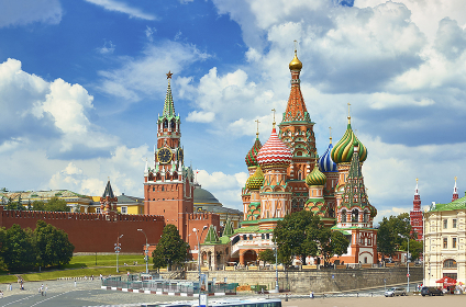 Panoramic view on Moscow Red Square Kremlin towers Clock Kuranti, Saint Basil's Cathedral church. Moscow architecture. Russia Moscow Red Square sightseeing holidays vacation tours famous Brick castle