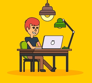 Man work with computer laptop design flat. Computer and business man worker, man in office desk, businessman person at table workplace, character work manager vector illustration. Black on yellow