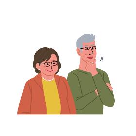 中高年の男女 シニア 夫婦 イラスト 上半身