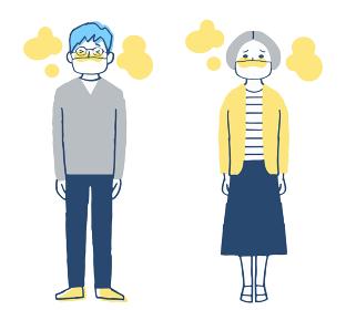 マスクをして暑い2人