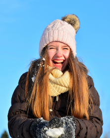 laughing girls in snow