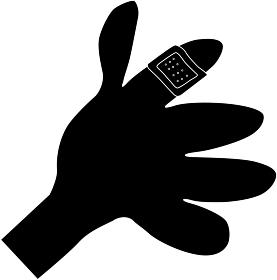 絆創膏をした指のシルエット