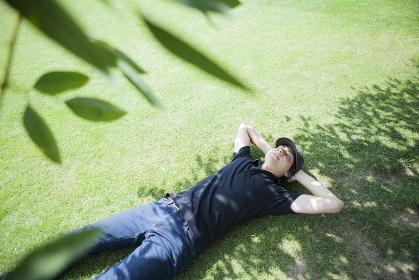 木陰の芝生に仰向けに寝転ぶ男性