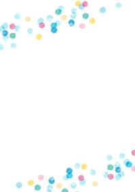 夏っぽいカラフルな水玉模様の手描き背景フレーム