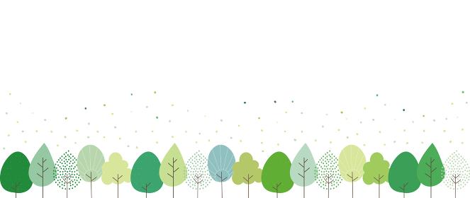 いろんな形の新緑の並木のイラスト